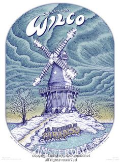 """Wilco silkscreen concert poster (click image for more detail) Artist: EMEK Venue: Paradiso Location: Amsterdam, Netherlands Concert Date: 9/12/2005 Edition: signed and numbered out of 500 Size: 13"""" x"""
