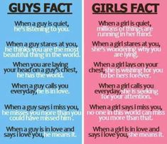 Interesting Facts: facts about girls and guys :)