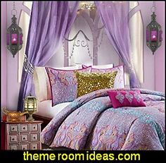 Pink Purple Yellow Paisley bedding  jeannie bedroom decorating