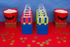 Cute Mario and Luigi bags! Super Mario Party, Super Mario Bros, Super Mario Birthday, Mario Birthday Party, Super Mario Brothers, 6th Birthday Parties, Birthday Party Favors, Mario Bros Cake, Cake Birthday