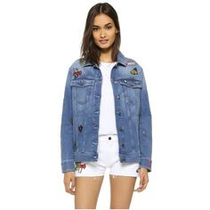 Mira Mikati Embroidered & Patched Icons Jacket (13.947.945 IDR) ❤ liked on Polyvore featuring outerwear, jackets, blue denim, blue jackets, patched jean jacket, long sleeve jean jacket, patch jacket and collar jacket