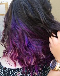 Purple, blue and pink galaxy underlights, hand painted balayage highlights toned with Joico Intensity. Unicorn / mermaid / space princess hair!