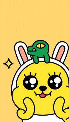 카카오프렌즈 무지&콘 Minimal Wallpaper, Iphone Wallpaper, Cute Lockscreens, Kakao Friends, Watercolor Disney, Friends Wallpaper, Kawaii, We Bare Bears, Line Friends