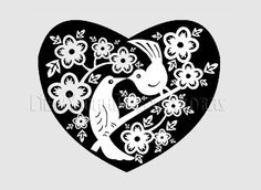 Birds Pattern Heart Pattern Cross Stitch by NewYorkNeedleworks, $8.50