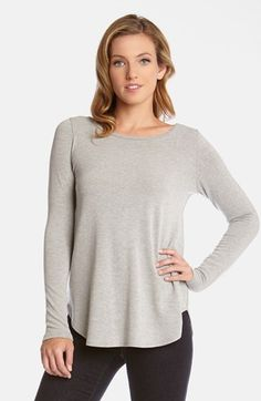 Karen Kane Light Heather Grey Sweater Knit Top | Nordstrom #Karen_Kane #Light #Heather #Grey #Sweater #Knit #Top #Nordstrom