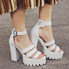 Faux Leather Chunky Heel Sandals