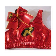 Robin Super Hero Metallic Sports Bra and Bow Set Cheerleading ($35) ❤ liked on Polyvore
