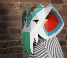 Elephant head maskwith decor DIY Paper creation PDF pattern printable mask Animal head Best Costume make your own Papercraft Party costume