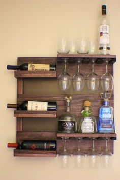 ON SALE Rustic Dark Cherry Stained Wall Mounted Wine Rack with by TheKnottyShelf | Etsy