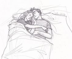 Percabeth sleeping in stables before Frank finds them