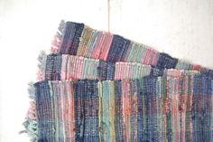 Woven Placemat Set Vintage Blue Pink Retro 1980s Thick Cotton Fringe Placemats Set of 3 at StoryTellersVintage.etsy.com