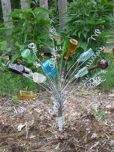 ** Garden Art Decoration Bottle Tree Using Recycled Glass Bottles