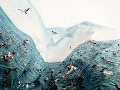 Artist Laura Plageman, who works in the San Francisco Bay Area, where she grew up, manipulates her photographs physically rather than digitally - 'Feeding Frenzy' 2012