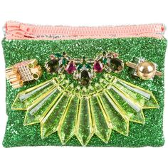 Pre-owned Mawi Glitter Double Clutch ($325) ❤ liked on Polyvore featuring bags, handbags, clutches, green, green clutches, neon green handbags, lucite purse, glitter handbags and man bag