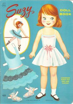 Cute 1960s paper doll with homemaker type clothing.