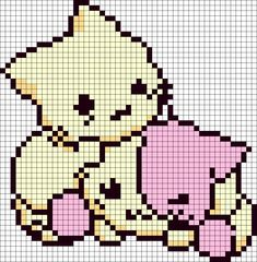 I have this tattooed on my neck for my two fur baby girls! Kittens Playing Perler Bead Pattern / Bead Sprite