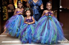 A Colorful Peacock Inspired Wedding in Alabama - Munaluchi Bridal Magazine i would want these dresses for the flower girls Flower Girl Dresses, Flower Girls, Peacock Flower Girl Dress, Peacock Tutu, Girls Dresses, Flower Girl Tutu, Wedding Attire, Just In Case, Wedding Styles