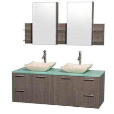 Wyndham Collection Amare 60 in. Double Vanity in Grey Oak with Glass Vanity Top in Aqua and Ivory Marble Sinks