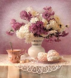 . Good Morning Coffee, Fall Flowers, Glass Vase, Floral, Painting, Decor, Art, Art Background, Autumn Flowers