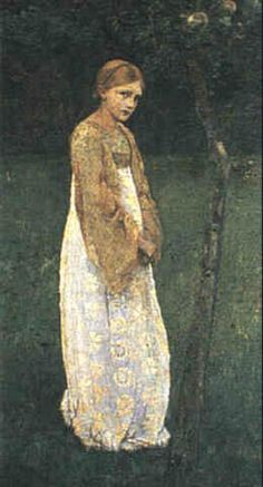 """Circle of Marianne Stokes, """"A Girl Under an Apple Tree"""""""