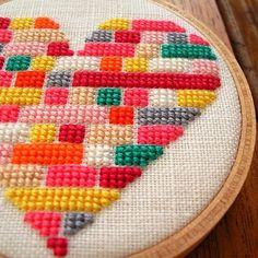 Items similar to Heart Cross-stitch OOAK on Etsy