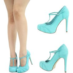MINT AQUA BLUE T STRAP MARYJANE HIGH HEEL PLATFORM STILETTO WOMEN PUMP SANDAL US