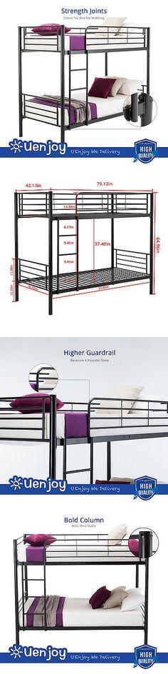 Kids Furniture: Metal Twin Over Twin Bunk Beds Frame Ladder For Kids Adult Children Bedroom Dorm BUY IT NOW ONLY: $143.9