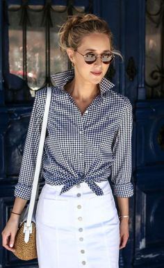 Spring Look Picture Description gingham long sleeve button up, white jean skirt, woven shoulder bag, round sunglasses + messy bun {brooks brothers, Looks Street Style, Looks Style, My Style, Fashion Mode, Womens Fashion, Fashion Trends, Teen Fashion, Latest Fashion, Fashion Inspiration