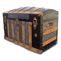 ANTIQUE STAGECOACH JENNY LIND WOOD TRUNK WITH METAL RIVETS AND BANDS... ❤ liked on Polyvore featuring home, home decor, small item storage, antique home decor, antique trunk, antique metal trunk, wood trunk and wooden home decor