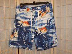 Ralph Lauren Polo Sz 34 Men's Board Shorts Swim Trunks Koi Fish Design  #RalphLaurenPolo #BoardShorts