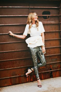 Sequin skinnies and textured top.