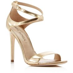 Via Spiga Tiara Metallic Ankle Strap High Heel Sandals ($250) ❤ liked on Polyvore featuring shoes, sandals, gold, leather sandals, polish leather shoes, metallic heel sandals, shiny shoes and heeled sandals