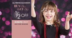Buy 1 Get 1 50% Off ALL printed backdrops at Backdrop Express until 5/14/14! That's $43 off 800+ backdrops!