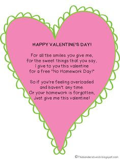 CUTE VALENTINE POEM FROM THE TEACHER/HOMEWORK PASS FREEBIE