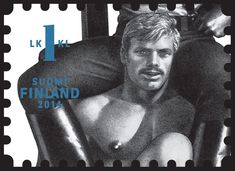 """The country's postal service plans to begin selling stamps that feature the """"confident and proud homoeroticism"""" of Tom of Finland, a Finnish artist known for his gay erotic sketches. Tom Of Finland Art, Toms, Guy Drawing, Gay Art, Stamp Collecting, Postage Stamps, Scandal, Erotica, Persona"""