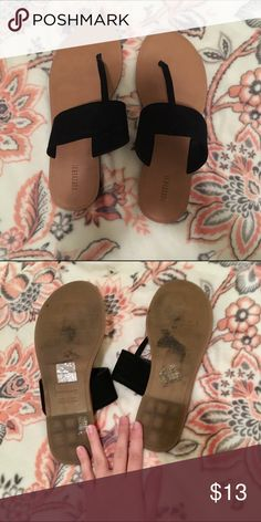 Forever21 size 7 sandals Black the top part is a velvety material I've only worn once they don't really fit me very well Forever 21 Shoes