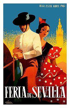1943 Sevilla Seville Spain Fiesta  Poster A3 Print
