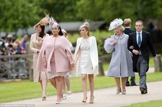 Spencer's sister, left, looked chic in cream as she joined society's finest at the wedding of the season 20 May 2017 #Pippa