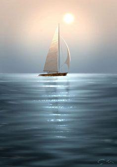 Wallpaper of Boat and yacht sailing at ocean sea - sailboat Ship Paintings, Landscape Paintings, Boat Wallpaper, Sailboat Painting, Boat Art, Beach Scenes, Acrylic Art, Painting Inspiration, Sailing Ships
