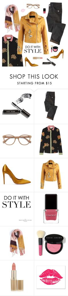 """""""Always Kiss me Goodnight"""" by sproetje ❤ liked on Polyvore featuring Bobbi Brown Cosmetics, EyeBuyDirect.com, RED Valentino, Aquazzura, Context, L'Oréal Paris, Grandin Road, fringe, ootd and girlsnight"""