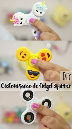 DIY: Como decorar / customizar seu Fidget ou Hand spinner! - Unicórnio, Emoji, Pérolas e Holográfico!