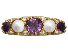 OnlineGalleries.com - Vintage Amethyst, Pearl and Diamond, 18 ct Yellow Gold Dress Ring