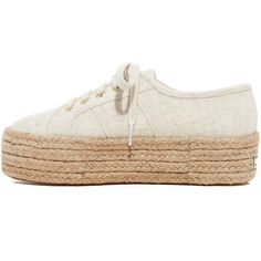 Superga 2790 Linen Platform Espadrille Sneakers ($110) ❤ liked on Polyvore featuring shoes, sneakers, crepe sole shoes, lacing sneakers, espadrille sneakers, lace up platform espadrilles and lace up shoes