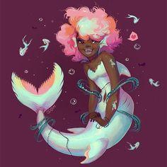 Quick art of a happy mermaid just for the sake of drawing a happy mermaid Mermie Black Mermaid, Cute Mermaid, Mermaid Art, Mermaid Marine, Mermaid Cartoon, Black Girl Art, Black Women Art, Art Girl, Art Magique