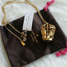 """Kate Spade Caged Birds Necklace 12 karat gold plated gorgeous necklace ~ NWT, dustbag included ~  lobster claw closure ~ 32"""" kate spade Jewelry Necklaces"""