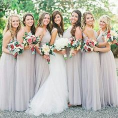 Elegant bridal party in #watterswtoo style 858 in latte. #bridalparty #bridal #bride #bridesmaids #bridesmaidsdresses #patsbridals #bridesmaiddress #wedding #miamiwedding #miamibride
