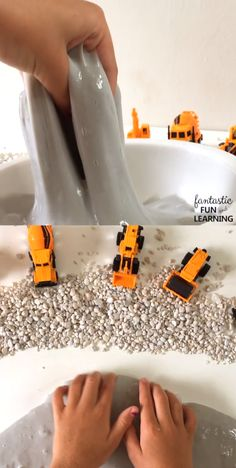 Create your own construction site slime for pretend play and sensory fun in pres. - Create your own construction site slime for pretend play and sensory fun in preschool - Construction Theme Preschool, Construction Crafts, Construction Toys For Toddlers, Construction Party Games, Preschool Learning, Fun Learning, Preschool Activities, Preschool Transportation Crafts, Sensory Table