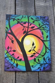 Sunburst Tree,Art Original Acrylic Canvas, Wall Art Gift Ideas Best Picture For handmade gift idea w Halloween Canvas Paintings, Simple Canvas Paintings, Easy Canvas Art, Canvas Painting Tutorials, Small Canvas Art, Easy Canvas Painting, Mini Canvas Art, Acrylic Canvas, Painting Lessons