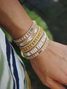 Zo Meng Rock Yewllo beaded Wrap armband Boheemse armband