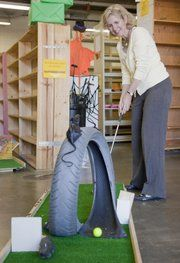 Wow! What a creative idea to create holes for a miniature golf course.